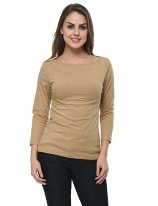 frenchtrendz-boat-neck-cotton-spandex-dark-beige-top