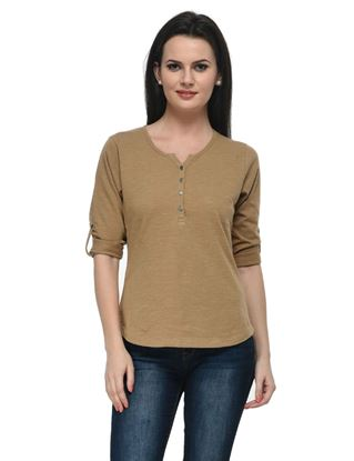 frenchtrendz-cotton-slub-34-rolled-button-henley-camel-top