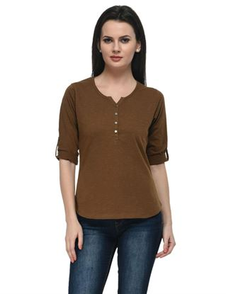 frenchtrendz-cotton-slub-34-rolled-button-henley-khaki-top