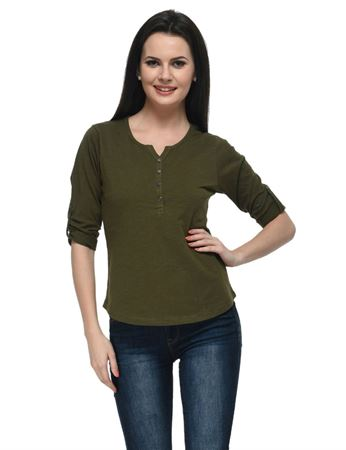 frenchtrendz-cotton-slub-34-rolled-button-henley-olive-top