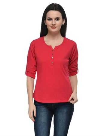 frenchtrendz-cotton-slub-34-rolled-button-henley-swe-pink-top