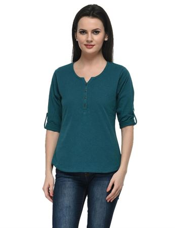 frenchtrendz-cotton-slub-34-rolled-button-henley-teal-top