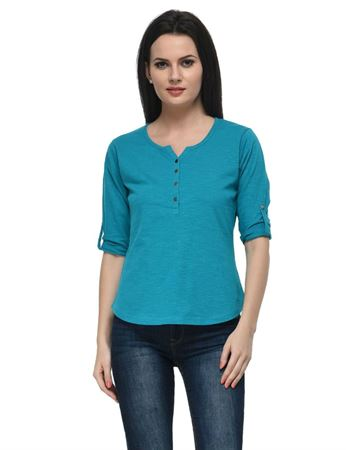 frenchtrendz-cotton-slub-34-rolled-button-henley-turq-top