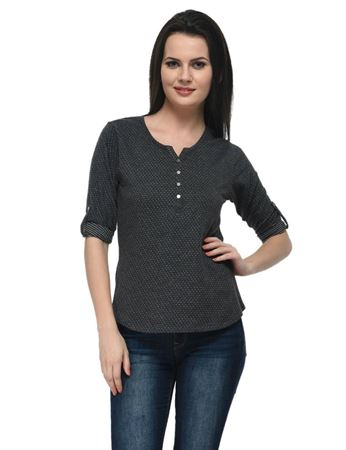 frenchtrendz-cotton-poly-34-rolled-button-henley-black-top