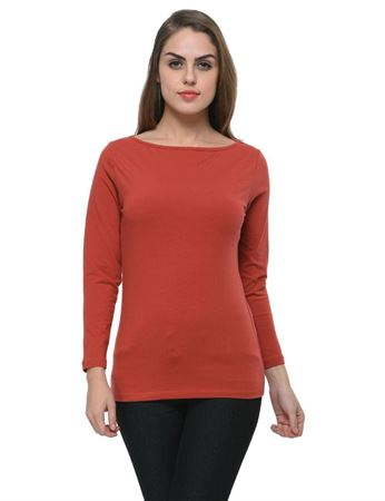frenchtrendz-boat-neck-cotton-spandex-dark-rust-top