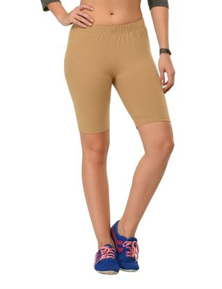 frenchtrendz-cotton-spandex-dark-beige-cycling-shorts