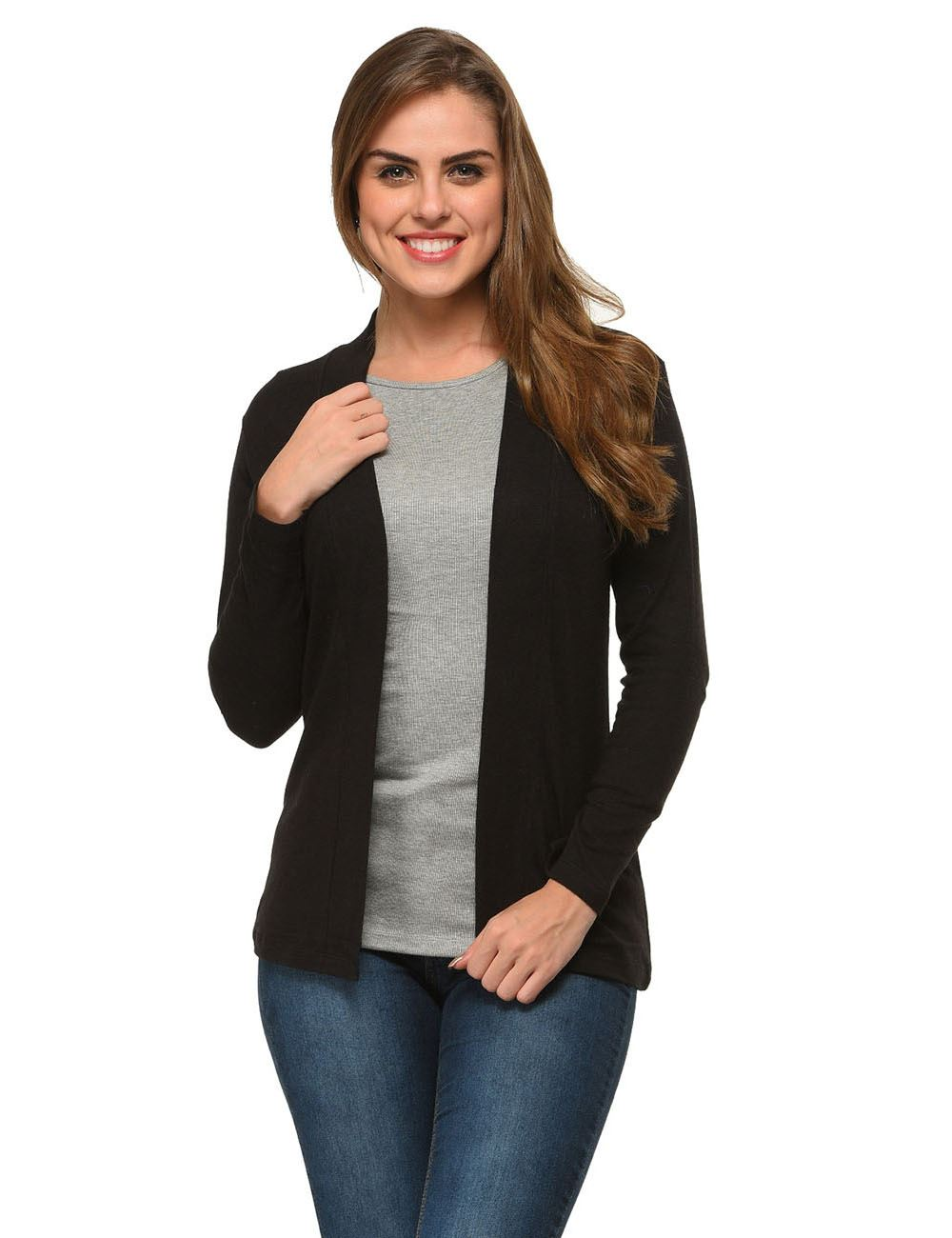 6ca9d2f2bfd Buy Frenchtrendz Cotton Modal Fleece Black Winter Shrugs Online India
