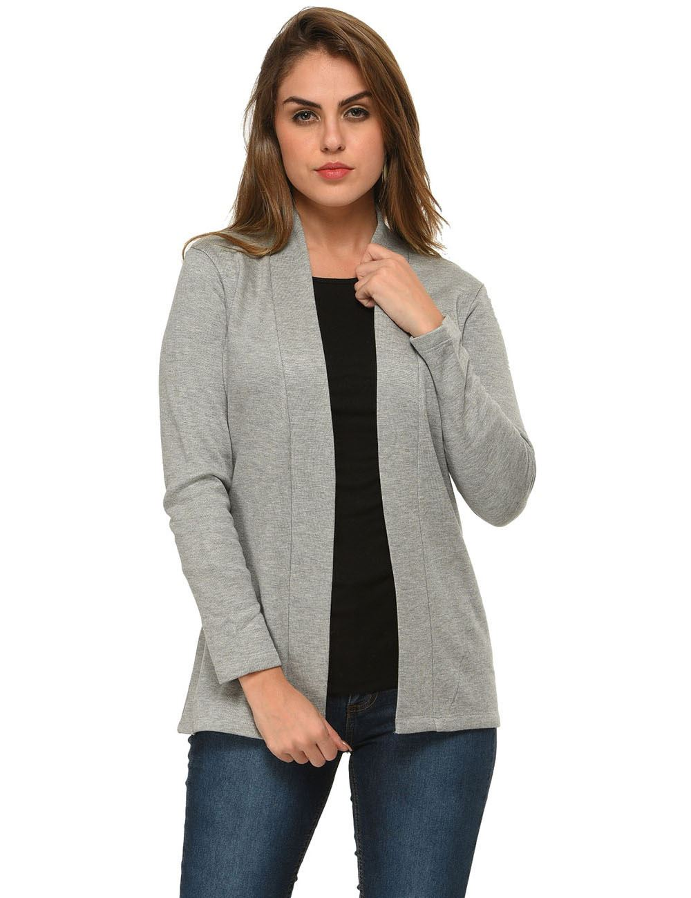 ecd8a3a35ab31 Buy Frenchtrendz Viscose Cotton Fleece Light Grey Winter Shrugs ...