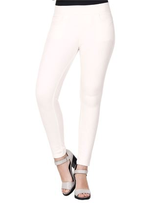 Picture of Frenchtrendz Cotton Viscose Spandex Shape Style Ivory Solid Jeggings