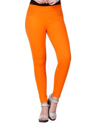 Picture of Frenchtrendz Cotton Viscose Spandex Shape Style Orange Solid Jeggings