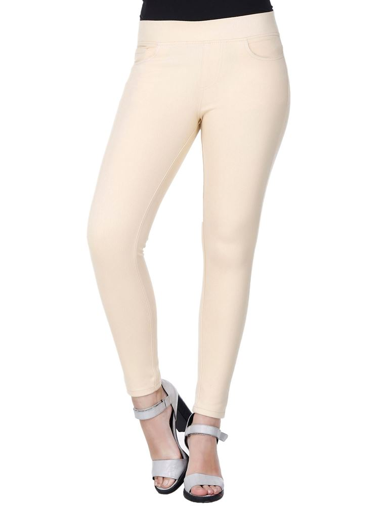 Picture of Frenchtrendz Cotton Viscose Spandex Shape Style Skin Solid Jeggings