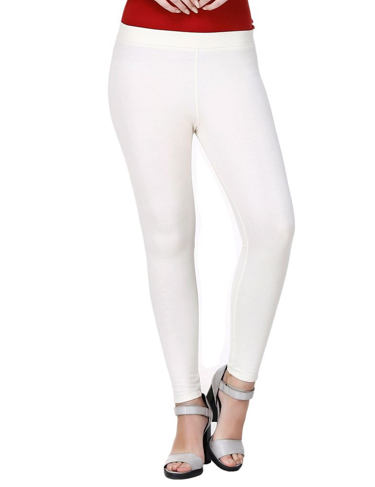 Picture of Frenchtrendz Viscose Vortex Poly Spandex Ponte Milano Ivory Ankle Leggings