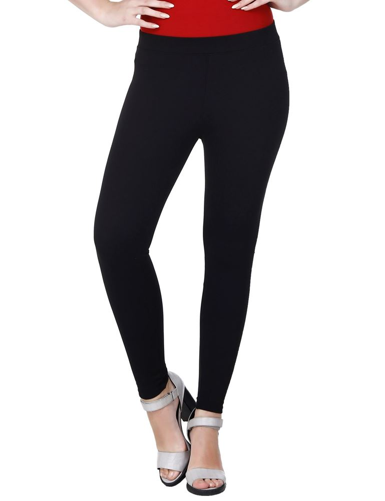 Picture of Frenchtrendz Viscose Vortex Poly Spandex Ponte Milano Black Ankle Leggings