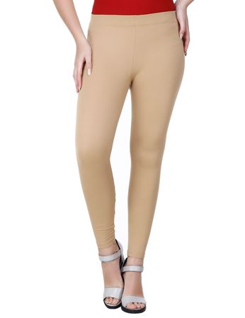 Picture of Frenchtrendz Viscose Vortex Poly Spandex Ponte Milano Beige Ankle Leggings