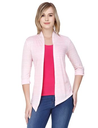 Picture of Frenchtrendz Poly Viscose Baby Pink Shrugs