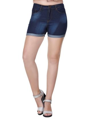 Picture of Frenchtrendz Denim Folded Blue Shorts