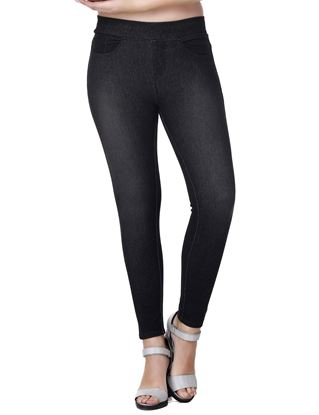 Picture of Frenchtrendz Cotton Viscose Vortex Spandex Shape Style Denim Black Jeggings