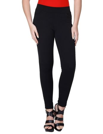 Picture of Frenchtrendz Cotton Poly Spandex Ponte Shape Style Black Solid Jeggings