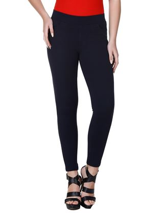 Picture of Frenchtrendz Cotton Poly Spandex Ponte Shape Style Navy Solid Jeggings