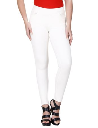 Picture of Frenchtrendz Cotton Poly Spandex Ponte Shape Style Ivory Solid Jeggings