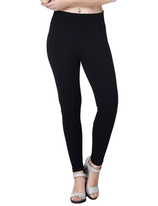 Picture of Frenchtrendz Cotton Poly Spandex Ponte Panneled Fitting Black Leggings