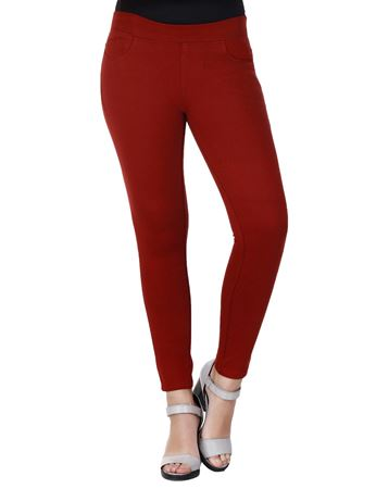 Picture of Frenchtrendz Cotton Viscose Spandex Shape Style Dark Maroon Solid Jeggings