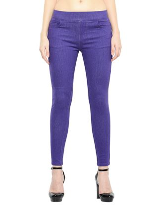 Picture of Frenchtrendz Cotton Viscose Spandex Shape Style Purple Denim Jeggings