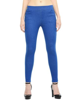 Picture of Frenchtrendz Cotton Viscose Spandex Shape Style Blue Denim Jeggings