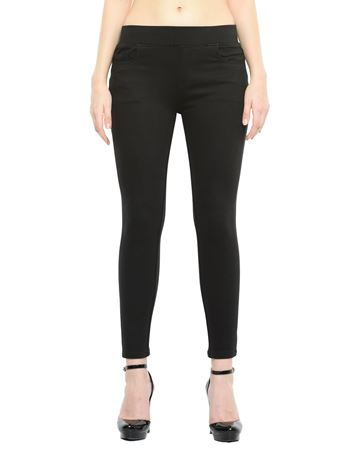Picture of Frenchtrendz Cotton Viscose Spandex Shape Style Black Solid Jeggings