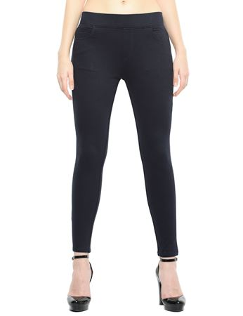 Picture of Frenchtrendz Cotton Viscose Spandex Shape Style Navy Solid Jeggings