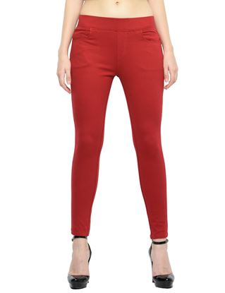 Picture of Frenchtrendz Cotton Viscose Spandex Shape Style Maroon Solid Jeggings