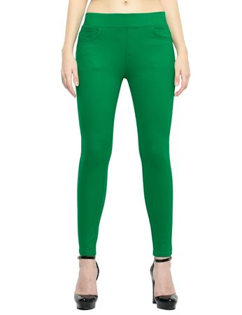 Picture of Frenchtrendz Cotton Viscose Spandex Shape Style Green Solid Jeggings