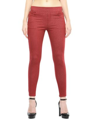 Picture of Frenchtrendz Cotton Viscose Spandex Shape Style Dark Maroon Denim Jeggings