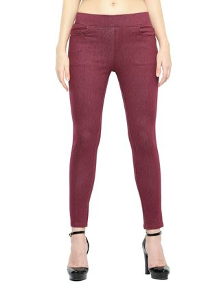 Picture of Frenchtrendz Cotton Viscose Spandex Shape Style Plum Denim Jeggings