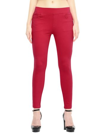 Picture of Frenchtrendz Cotton Viscose Spandex Shape Style Swe Pink Solid Jeggings