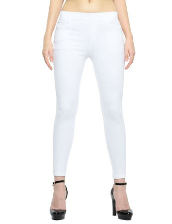 Picture of Frenchtrendz Cotton Viscose Spandex Shape Style White Solid Jeggings