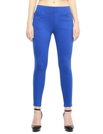 Picture of Frenchtrendz Cotton Viscose Spandex Shape Style Royal Blue Solid Jeggings