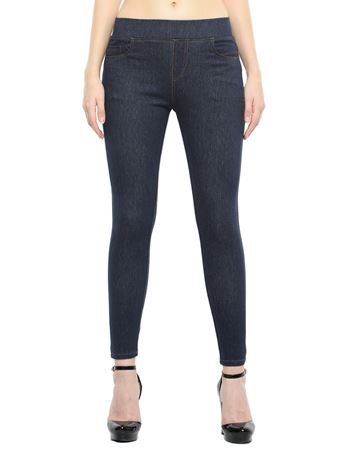 Picture of Frenchtrendz Cotton Viscose Spandex Shape Style Indigo Blue Denim Jeggings