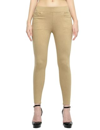 Picture of Frenchtrendz Cotton Viscose Spandex Shape Style Camel Denim Jegging