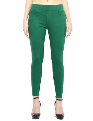 Picture of Frenchtrendz Cotton Viscose Spandex Shape Style Dark Green Solid Jegging