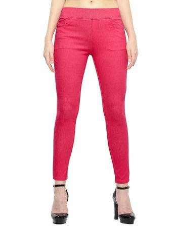Picture of Frenchtrendz Cotton Viscose Spandex Shape Style Pink Denim Jeggings