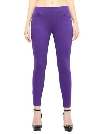 Picture of Frenchtrendz Cotton Viscose Spandex Shape Style Purple Solid Jeggings