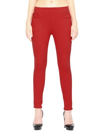 Picture of Frenchtrendz Cotton Viscose Spandex Shape Style Red Solid Jeggings