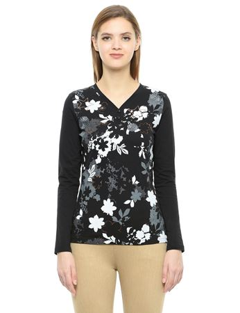 Picture of Frenchtrendz Cotton Henley Neck Black Embroidery Tops