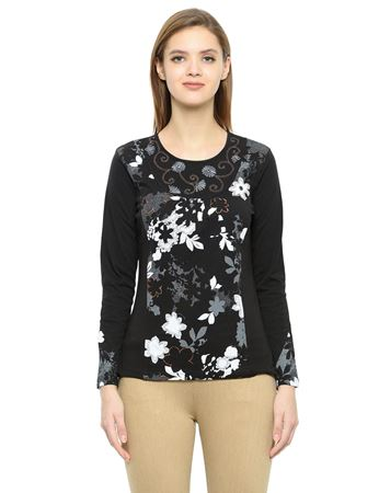 Picture of Frenchtrendz Cotton Round Neck Black Embroidery Tops