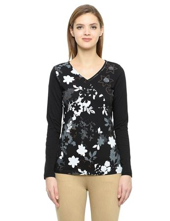 Picture of Frenchtrendz Cotton Curved V-Neck Black Embroidery Tops