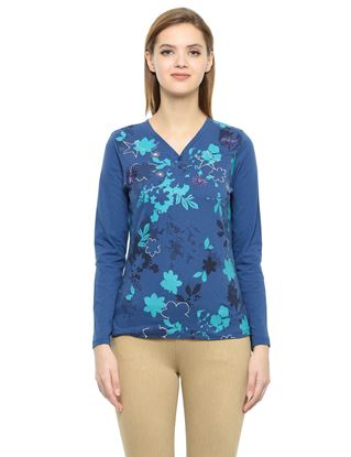 Picture of Frenchtrendz Cotton Henley Neck Blue Embroidery Tops