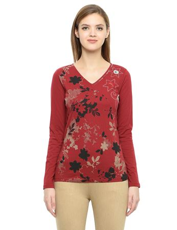 Picture of Frenchtrendz Cotton Curved V-Neck Maroon Embroidery Tops