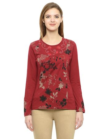 Picture of Frenchtrendz Cotton Round Neck Maroon Embroidery Tops