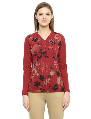 Picture of Frenchtrendz Cotton Henley Neck Maroon Embroidery Tops